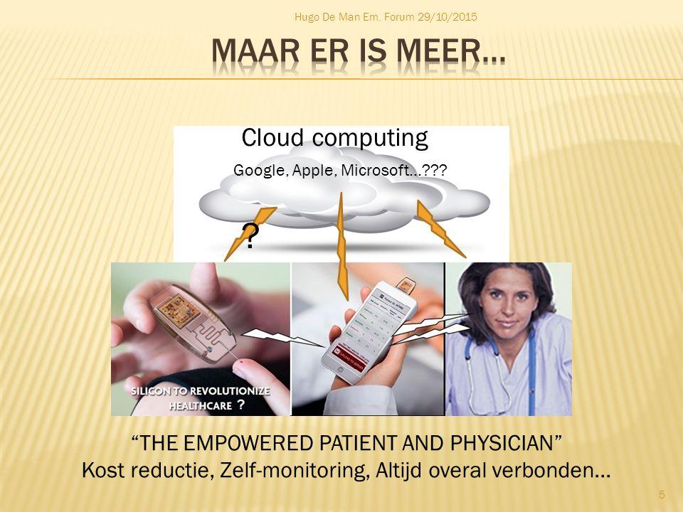 "Hugo De Man Em. Forum 29/10/2015 5 Cloud computing Google, Apple, Microsoft...??? ""THE EMPOWERED PATIENT AND PHYSICIAN"" Kost reductie, Zelf-monitoring"