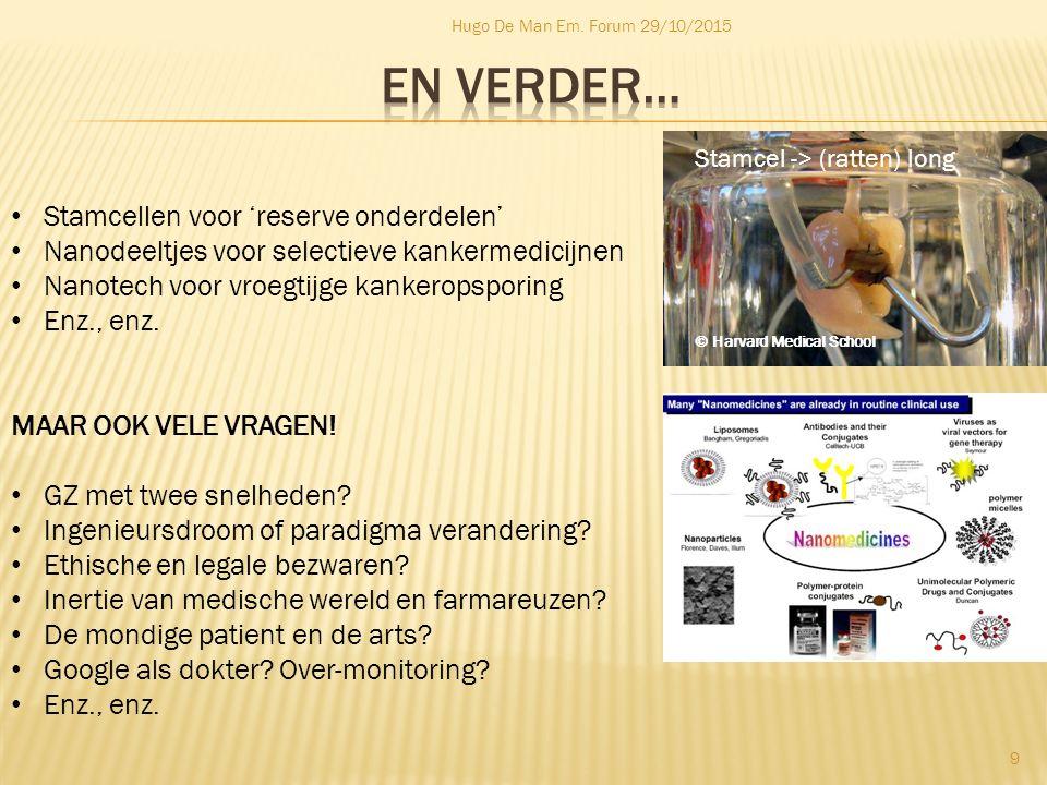 Hugo De Man Em. Forum 29/10/2015 9 Stamcellen voor 'reserve onderdelen' Nanodeeltjes voor selectieve kankermedicijnen Nanotech voor vroegtijge kankero