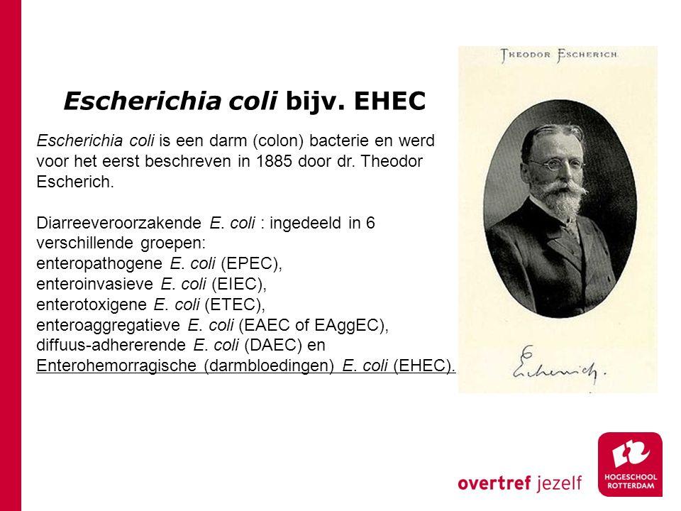 Escherichia coli bijv. EHEC Escherichia coli is een darm (colon) bacterie en werd voor het eerst beschreven in 1885 door dr. Theodor Escherich. Diarre