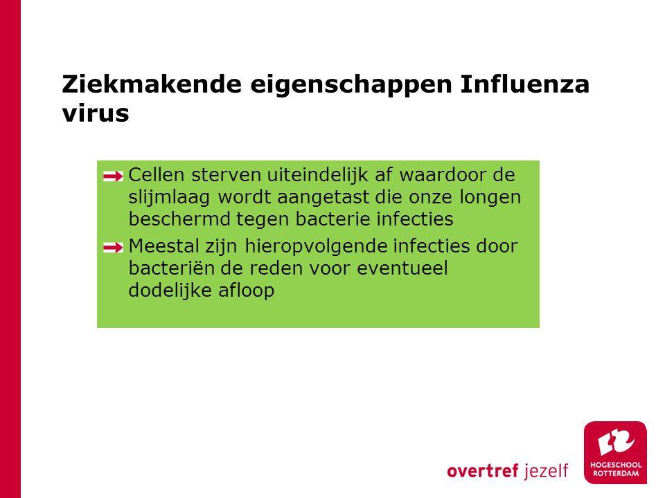 Ziekmakende eigenschappen Influenza virus Cellen sterven uiteindelijk af waardoor de slijmlaag wordt aangetast die onze longen beschermd tegen bacterie infecties Meestal zijn hieropvolgende infecties door bacteriën de reden voor eventueel dodelijke afloop