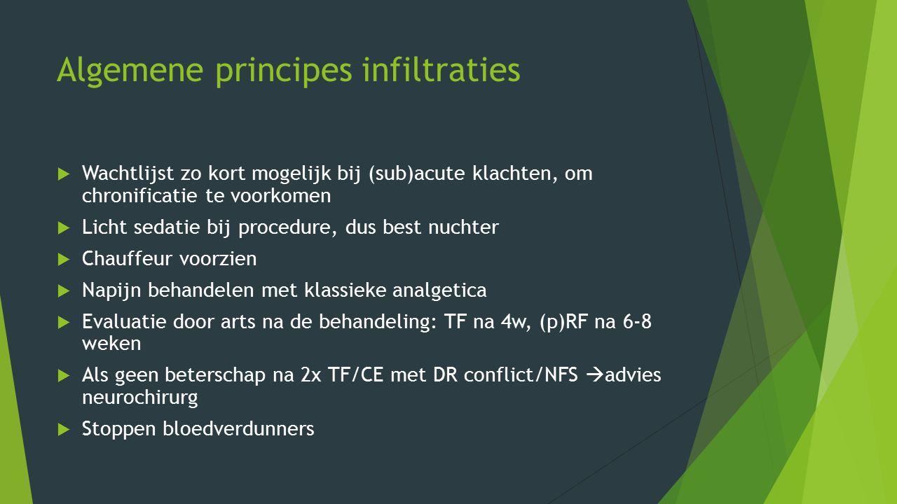 Algemene principes infiltraties  Wachtlijst zo kort mogelijk bij (sub)acute klachten, om chronificatie te voorkomen  Licht sedatie bij procedure, du