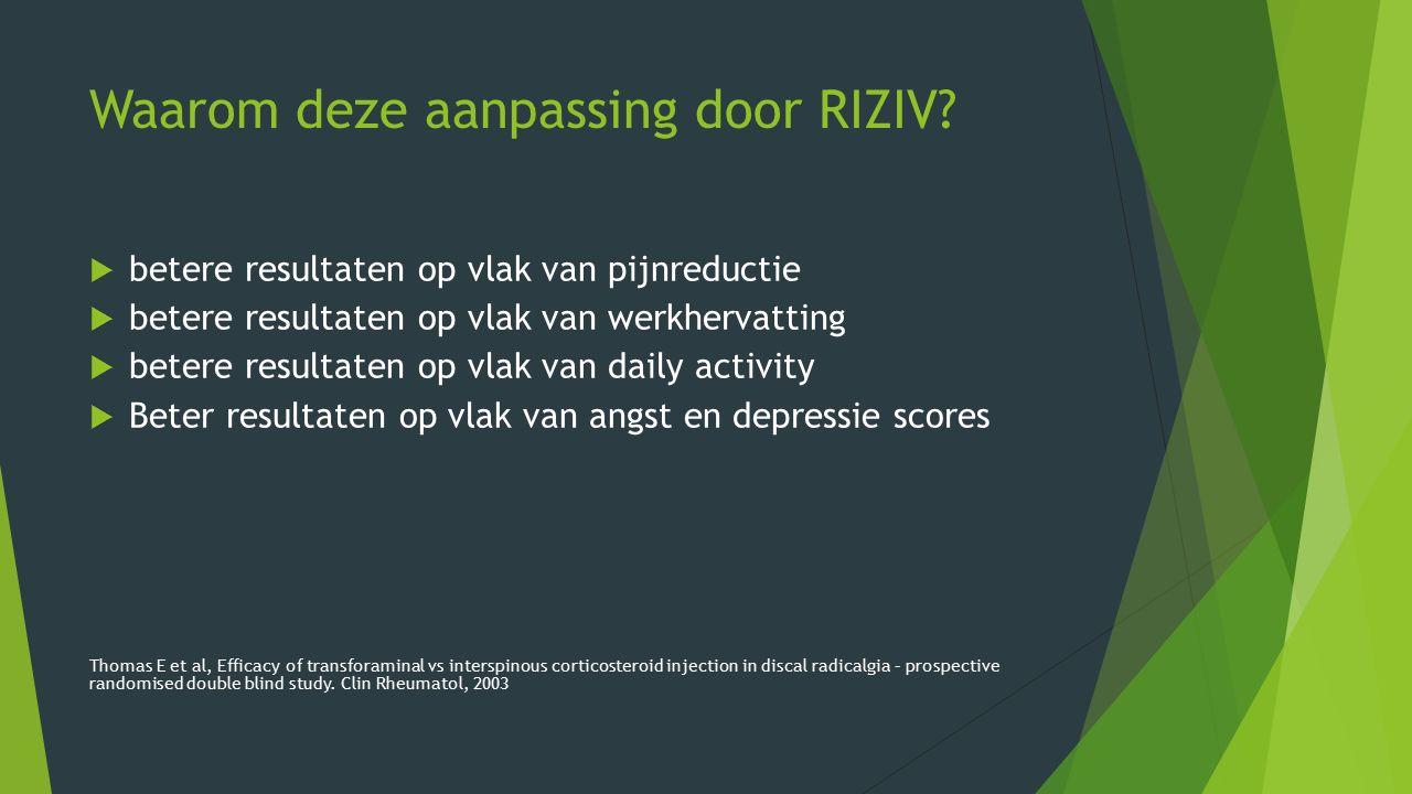 Waarom deze aanpassing door RIZIV?  betere resultaten op vlak van pijnreductie  betere resultaten op vlak van werkhervatting  betere resultaten op