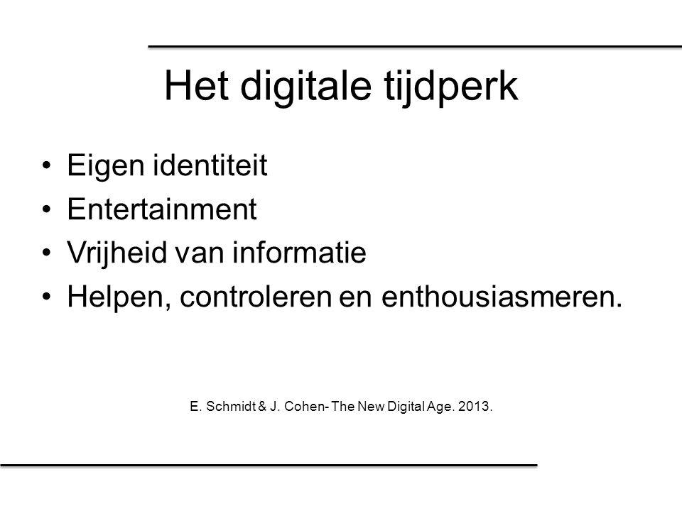 Het digitale tijdperk Eigen identiteit Entertainment Vrijheid van informatie Helpen, controleren en enthousiasmeren. E. Schmidt & J. Cohen- The New Di