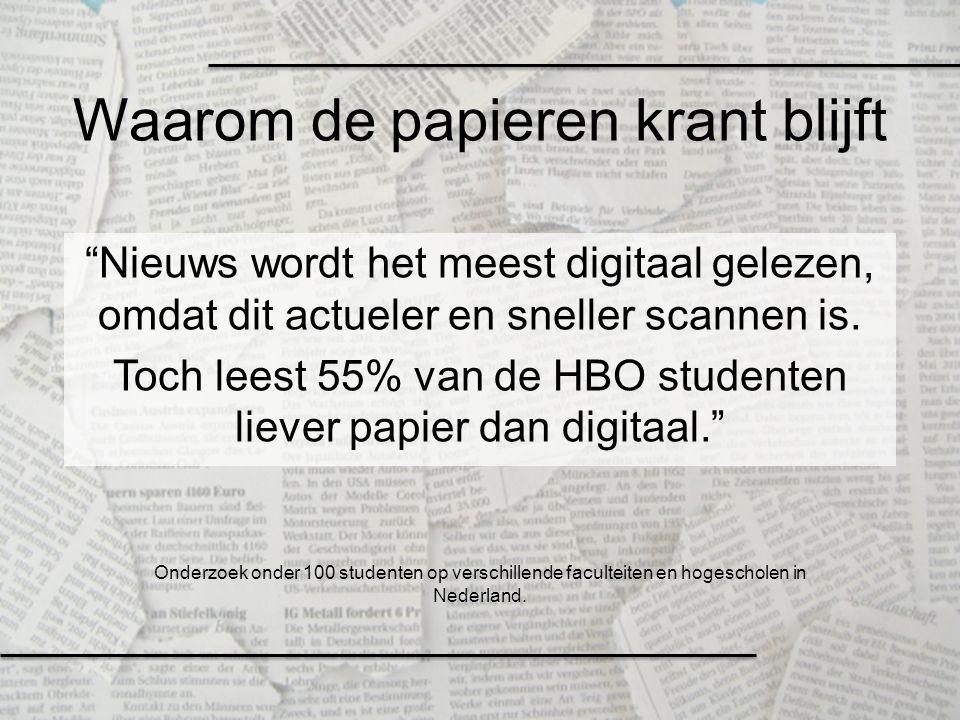"""""""Nieuws wordt het meest digitaal gelezen, omdat dit actueler en sneller scannen is. Toch leest 55% van de HBO studenten liever papier dan digitaal."""" W"""