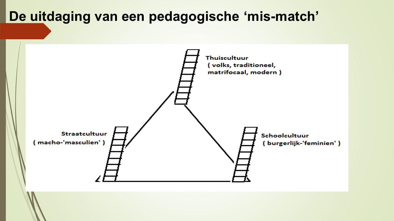 De uitdaging van een pedagogische 'mis-match' Thuiscultuur (traditioneel) (volks) Schoolcultuur (masculien / volks) Straatcultuur (masculien)