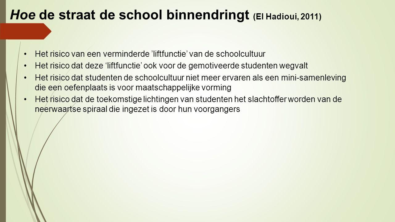 Hoe de straat de school binnendringt (El Hadioui, 2011) Het risico van een verminderde 'liftfunctie' van de schoolcultuur Het risico dat deze 'liftfun