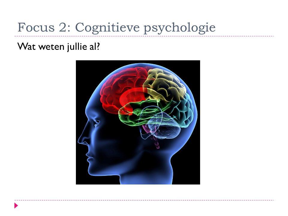 Focus 2: Cognitieve psychologie Wat weten jullie al?