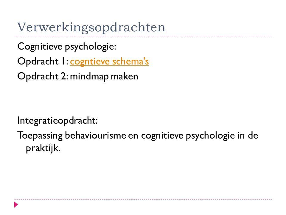 Verwerkingsopdrachten Cognitieve psychologie: Opdracht 1: cogntieve schema'scogntieve schema's Opdracht 2: mindmap maken Integratieopdracht: Toepassing behaviourisme en cognitieve psychologie in de praktijk.