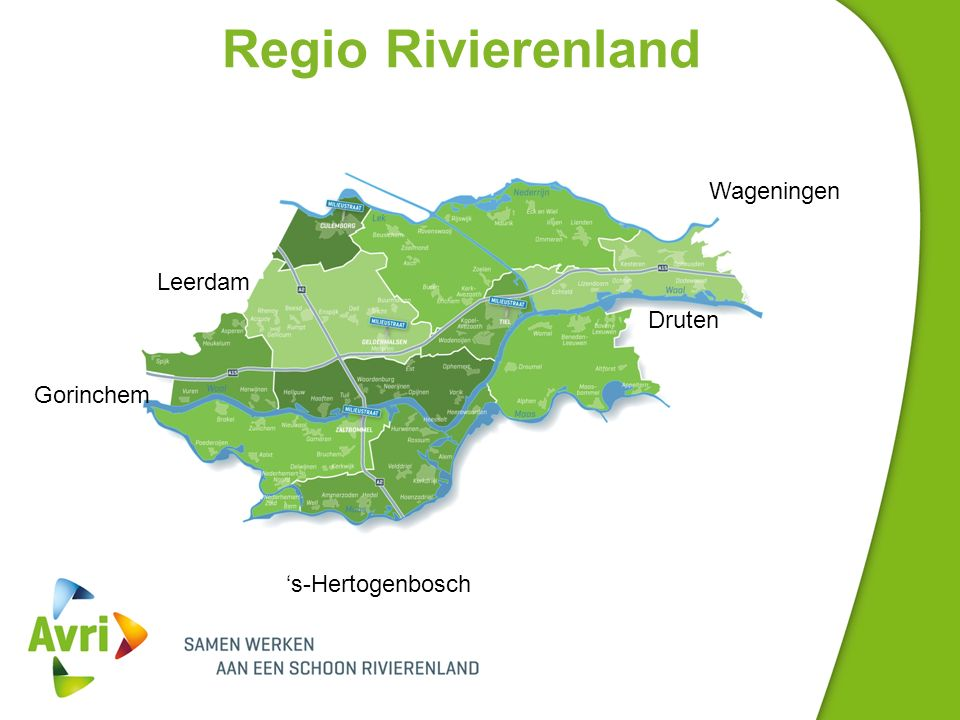 Regio Rivierenland Leerdam Gorinchem 's-Hertogenbosch Druten Wageningen