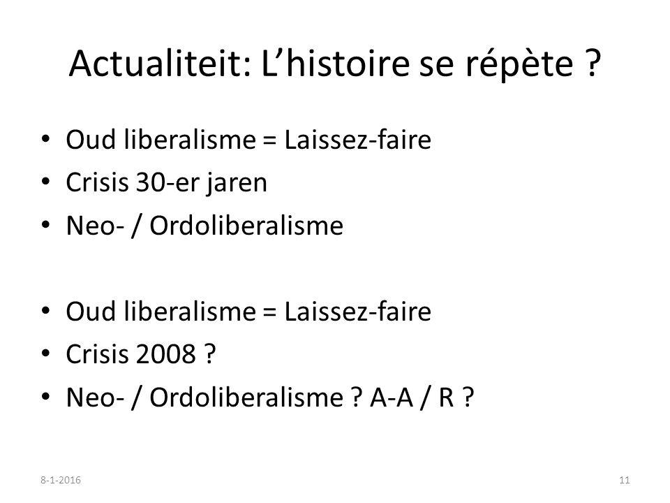 Actualiteit: L'histoire se répète ? Oud liberalisme = Laissez-faire Crisis 30-er jaren Neo- / Ordoliberalisme Oud liberalisme = Laissez-faire Crisis 2