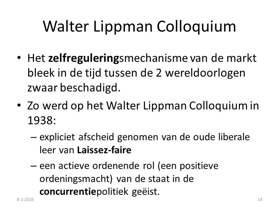 Walter Lippman Colloquium Het zelfreguleringsmechanisme van de markt bleek in de tijd tussen de 2 wereldoorlogen zwaar beschadigd. Zo werd op het Walt