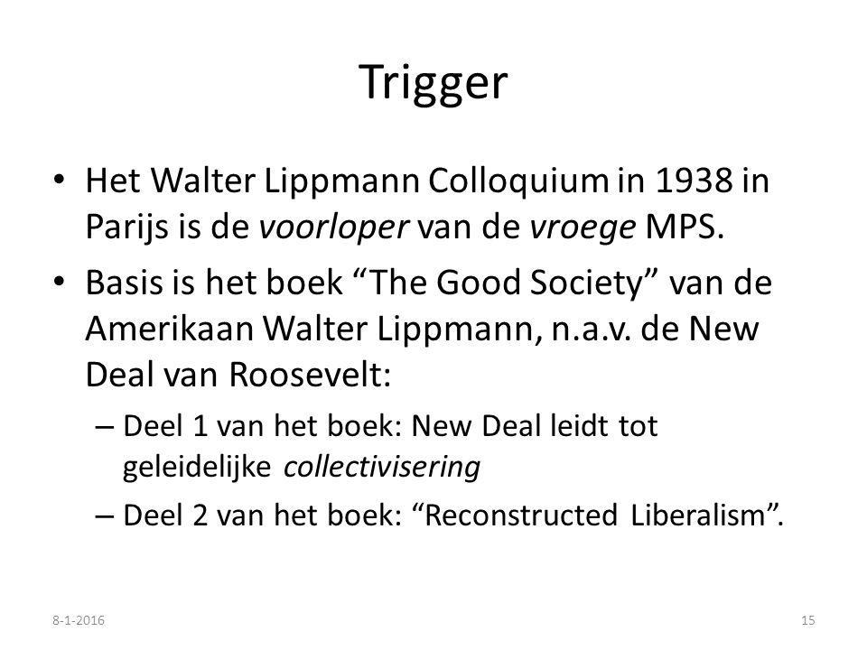 """Trigger Het Walter Lippmann Colloquium in 1938 in Parijs is de voorloper van de vroege MPS. Basis is het boek """"The Good Society"""" van de Amerikaan Walt"""