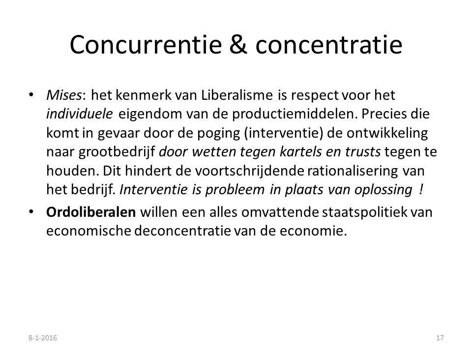 Concurrentie & concentratie Mises: het kenmerk van Liberalisme is respect voor het individuele eigendom van de productiemiddelen. Precies die komt in