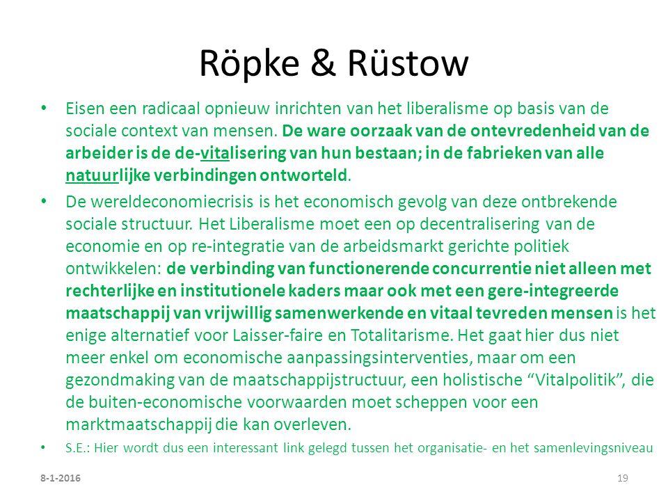 Röpke & Rüstow Eisen een radicaal opnieuw inrichten van het liberalisme op basis van de sociale context van mensen.