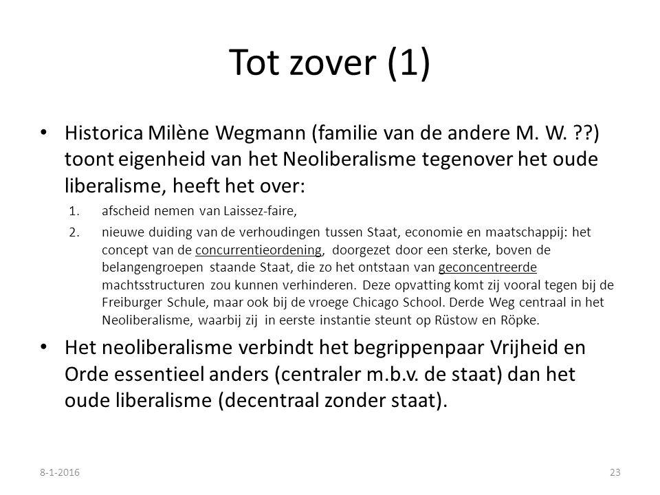 Tot zover (1) Historica Milène Wegmann (familie van de andere M. W. ??) toont eigenheid van het Neoliberalisme tegenover het oude liberalisme, heeft h