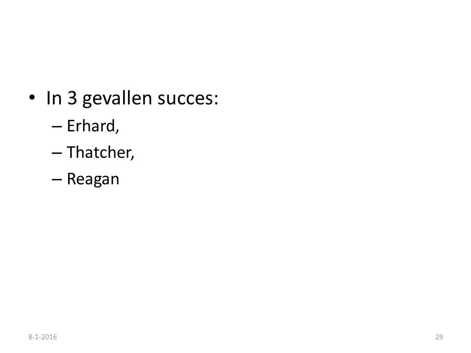 In 3 gevallen succes: – Erhard, – Thatcher, – Reagan 8-1-201629