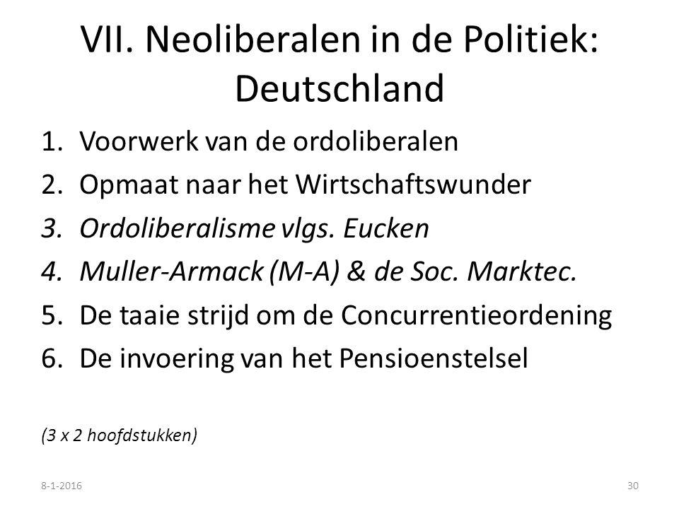 VII. Neoliberalen in de Politiek: Deutschland 1.Voorwerk van de ordoliberalen 2.Opmaat naar het Wirtschaftswunder 3.Ordoliberalisme vlgs. Eucken 4.Mul