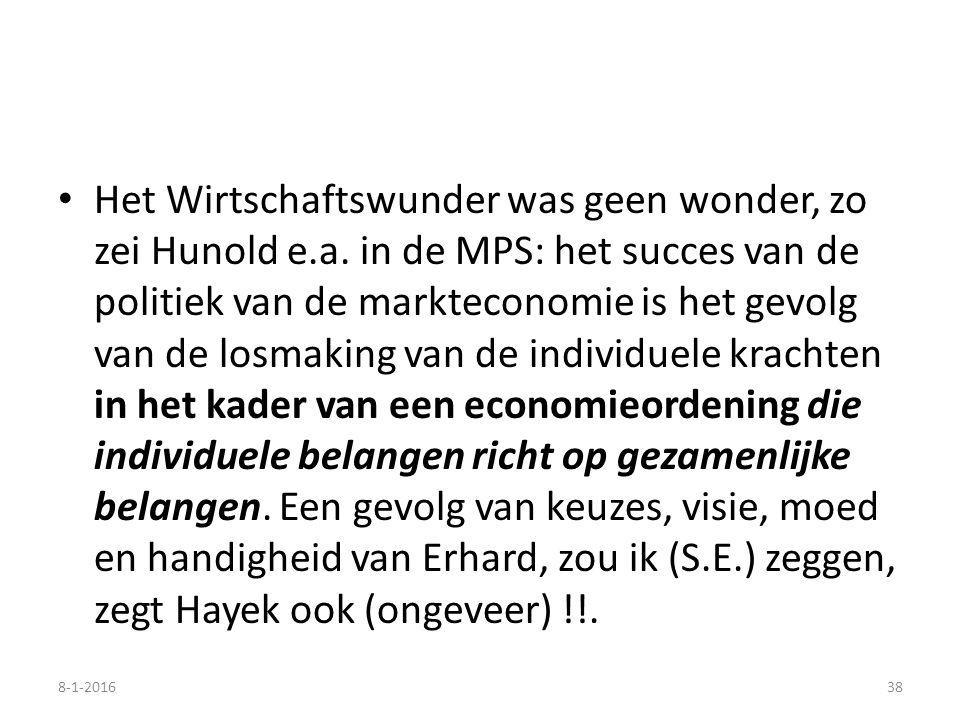 Het Wirtschaftswunder was geen wonder, zo zei Hunold e.a. in de MPS: het succes van de politiek van de markteconomie is het gevolg van de losmaking va