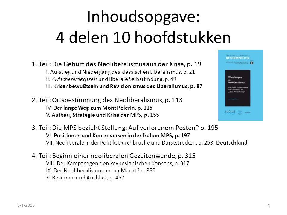 Inhoudsopgave: 4 delen 10 hoofdstukken 1. Teil: Die Geburt des Neoliberalismus aus der Krise, p. 19 I. Aufstieg und Niedergang des klassischen Liberal