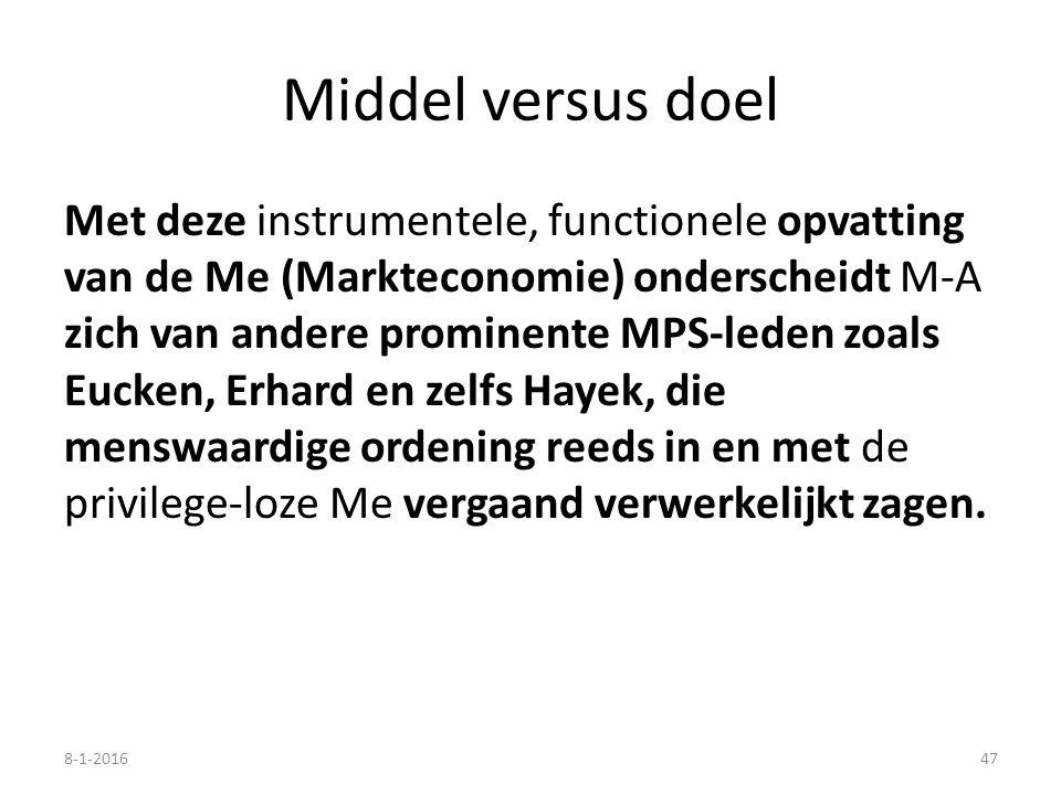 Middel versus doel Met deze instrumentele, functionele opvatting van de Me (Markteconomie) onderscheidt M-A zich van andere prominente MPS-leden zoals Eucken, Erhard en zelfs Hayek, die menswaardige ordening reeds in en met de privilege-loze Me vergaand verwerkelijkt zagen.