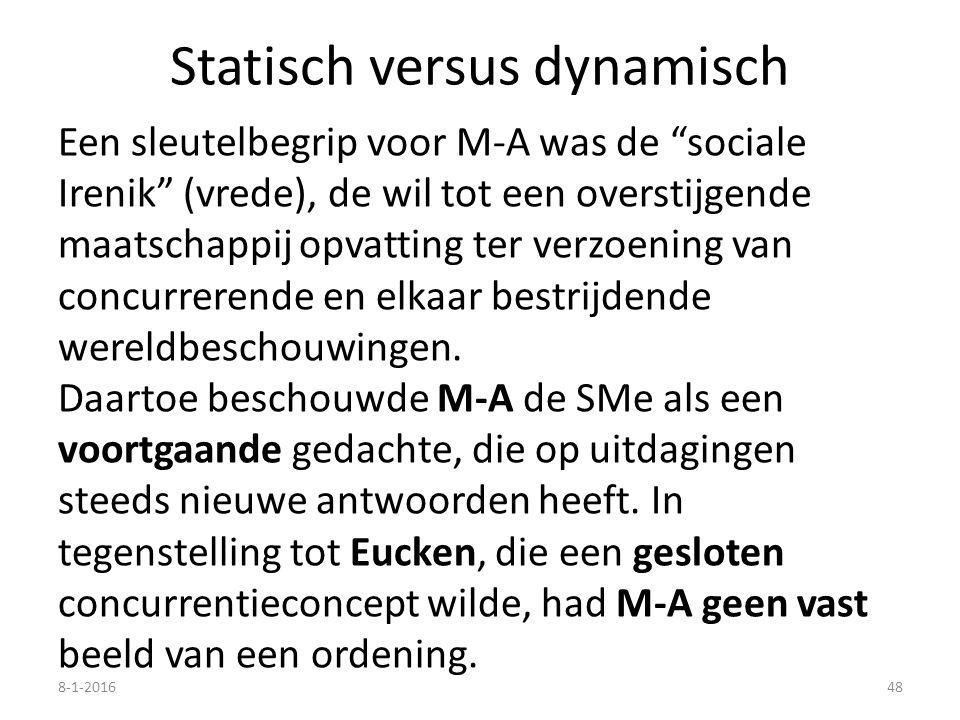 Statisch versus dynamisch Een sleutelbegrip voor M-A was de sociale Irenik (vrede), de wil tot een overstijgende maatschappij opvatting ter verzoening van concurrerende en elkaar bestrijdende wereldbeschouwingen.