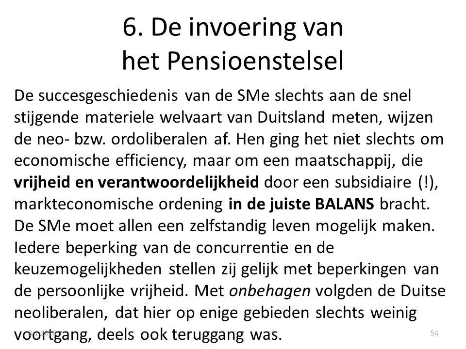 6. De invoering van het Pensioenstelsel De succesgeschiedenis van de SMe slechts aan de snel stijgende materiele welvaart van Duitsland meten, wijzen