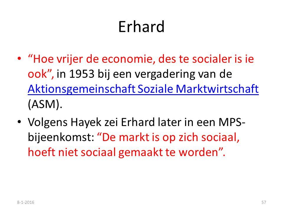 """Erhard """"Hoe vrijer de economie, des te socialer is ie ook"""", in 1953 bij een vergadering van de Aktionsgemeinschaft Soziale Marktwirtschaft (ASM). Akti"""