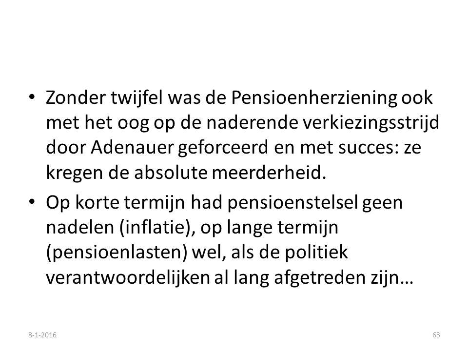 Zonder twijfel was de Pensioenherziening ook met het oog op de naderende verkiezingsstrijd door Adenauer geforceerd en met succes: ze kregen de absolu