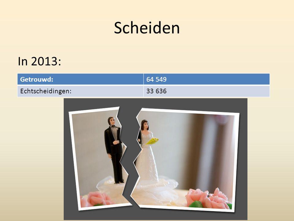 Scheiden In 2013: Getrouwd:64 549 Echtscheidingen:33 636