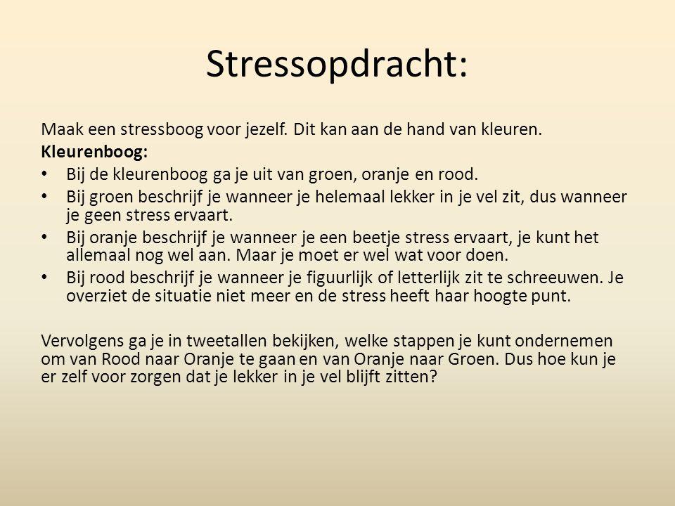 Stressopdracht: Maak een stressboog voor jezelf. Dit kan aan de hand van kleuren.
