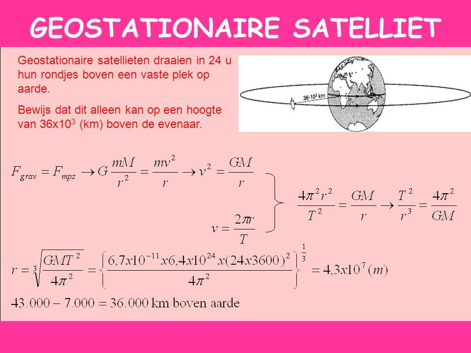 GEOSTATIONAIRE SATELLIET Geostationaire satellieten draaien in 24 u hun rondjes boven een vaste plek op aarde.