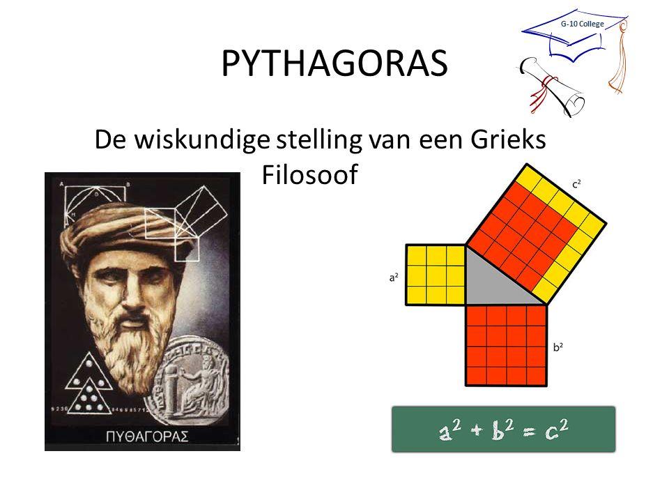 PYTHAGORAS De wiskundige stelling van een Grieks Filosoof G-10 College