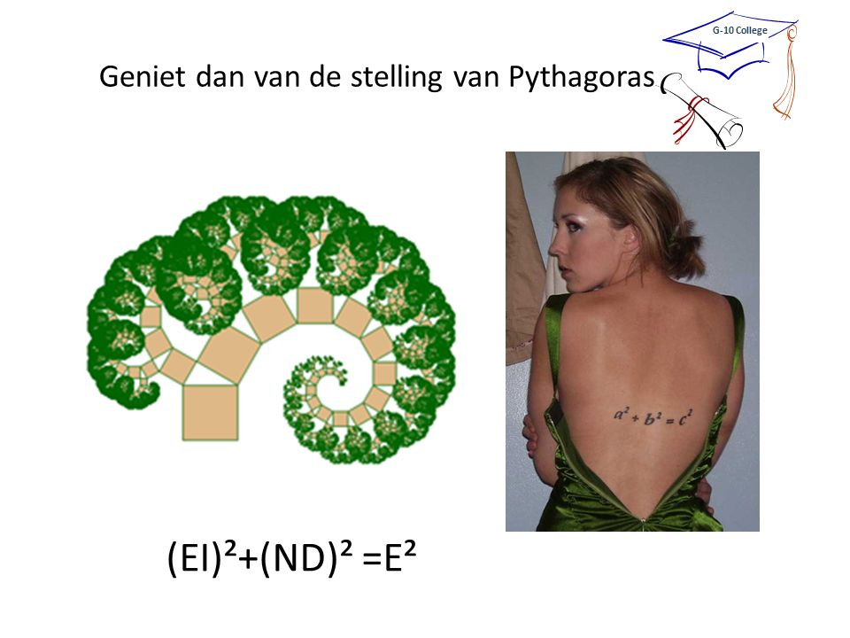 Geniet dan van de stelling van Pythagoras G-10 College (EI)²+(ND)² =E²