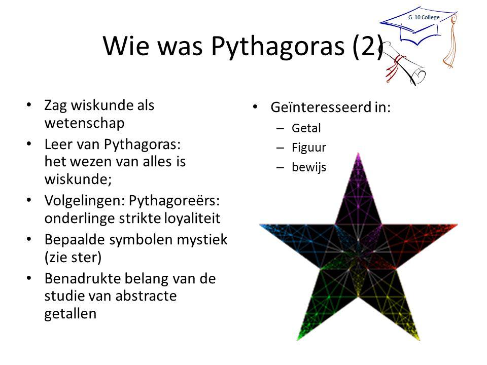 Wie was Pythagoras (2) Zag wiskunde als wetenschap Leer van Pythagoras: het wezen van alles is wiskunde; Volgelingen: Pythagoreërs: onderlinge strikte