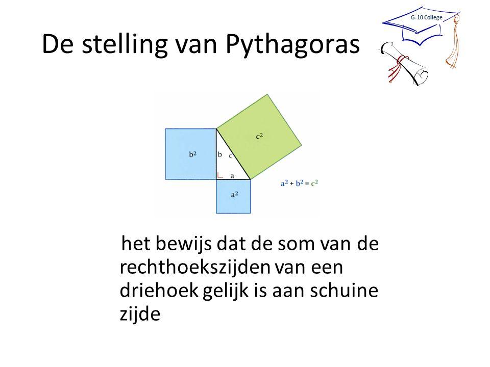 De stelling van Pythagoras het bewijs dat de som van de rechthoekszijden van een driehoek gelijk is aan schuine zijde G-10 College