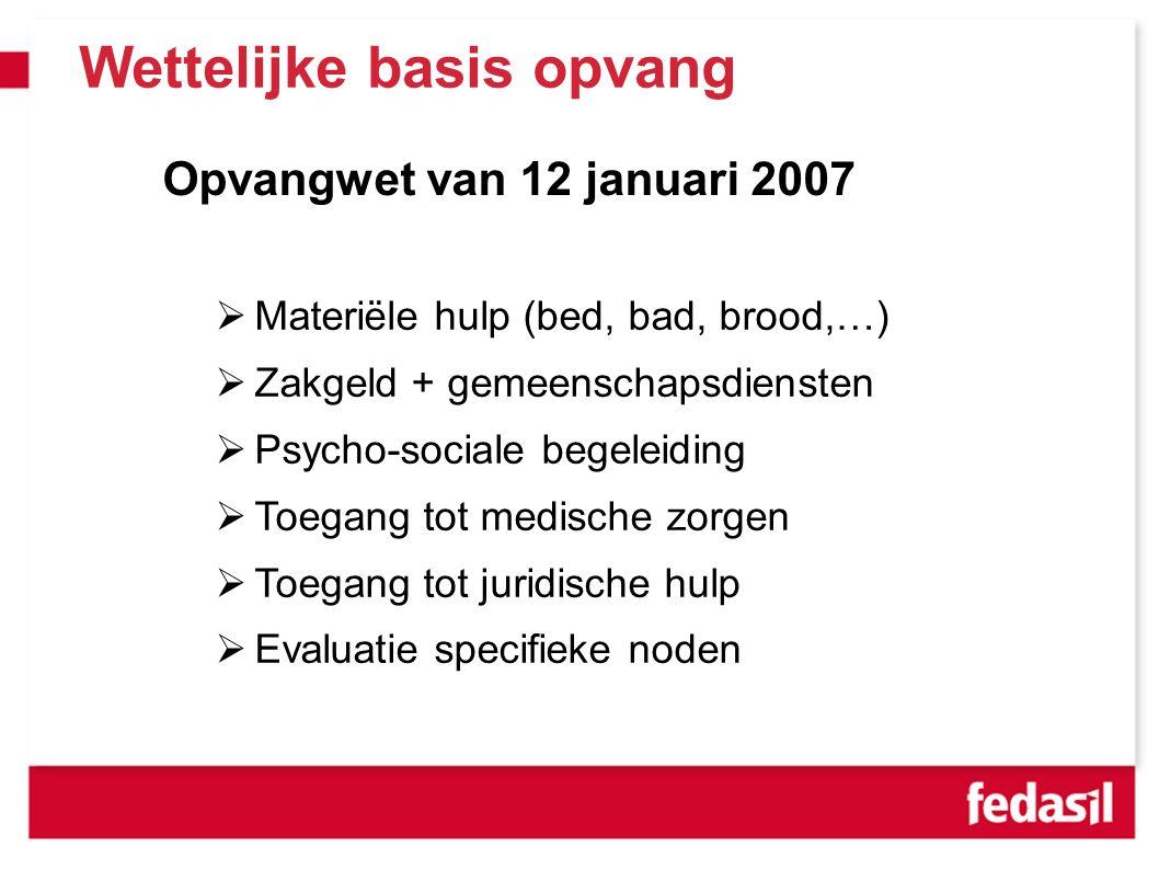 Opvangwet van 12 januari 2007  Materiële hulp (bed, bad, brood,…)  Zakgeld + gemeenschapsdiensten  Psycho-sociale begeleiding  Toegang tot medische zorgen  Toegang tot juridische hulp  Evaluatie specifieke noden