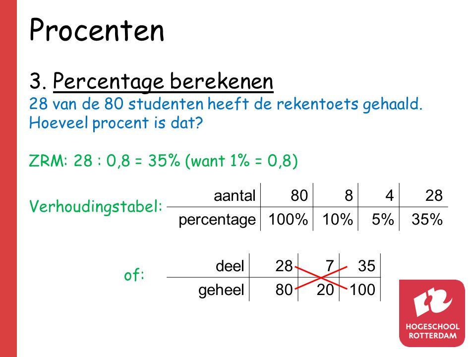 Procenten 3. Percentage berekenen 28 van de 80 studenten heeft de rekentoets gehaald. Hoeveel procent is dat? ZRM: 28 : 0,8 = 35% (want 1% = 0,8) Verh
