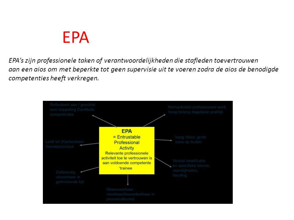 EPA EPA's zijn professionele taken of verantwoordelijkheden die stafleden toevertrouwen aan een aios om met beperkte tot geen supervisie uit te voeren zodra de aios de benodigde competenties heeft verkregen.