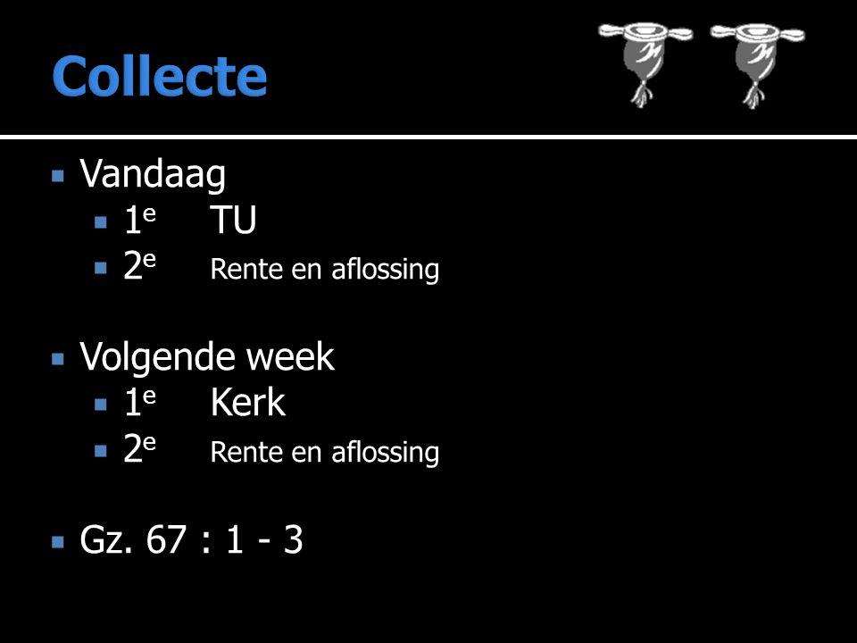  Vandaag  1 e TU  2 e Rente en aflossing  Volgende week  1 e Kerk  2 e Rente en aflossing  Gz.