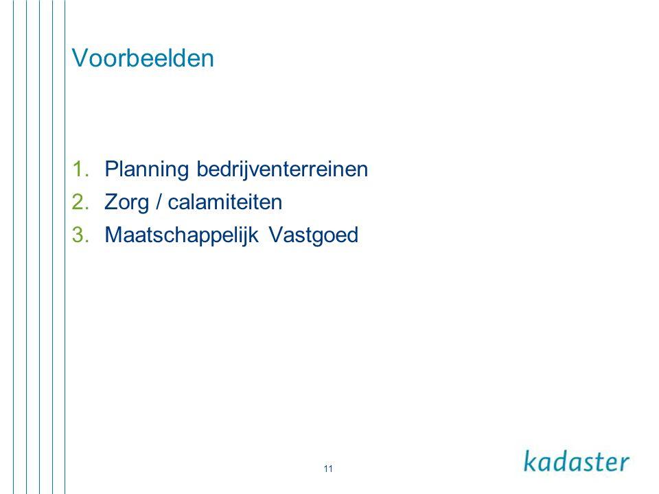 11 Voorbeelden 1.Planning bedrijventerreinen 2.Zorg / calamiteiten 3.Maatschappelijk Vastgoed