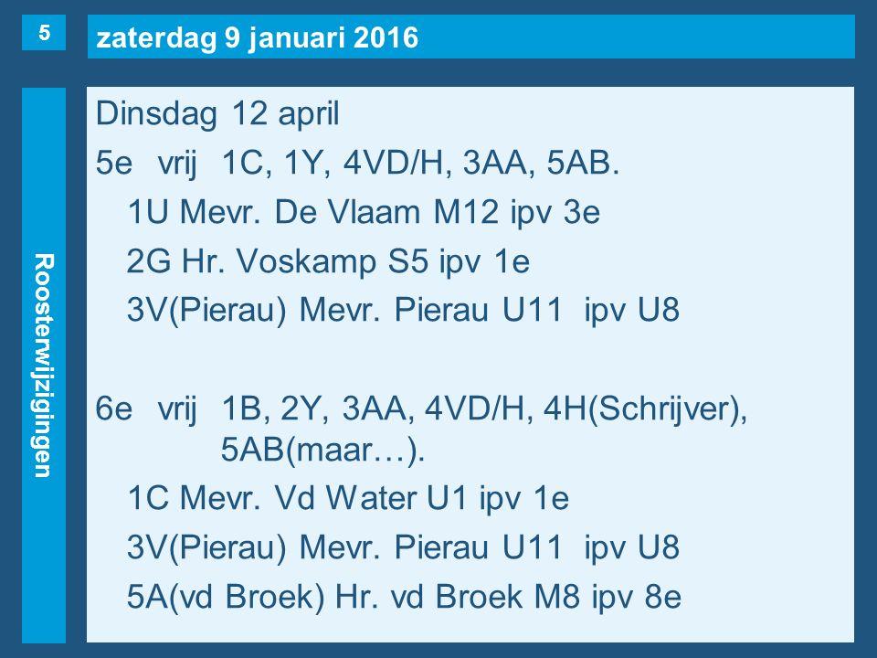 zaterdag 9 januari 2016 Roosterwijzigingen Dinsdag 12 april 5evrij1C, 1Y, 4VD/H, 3AA, 5AB.
