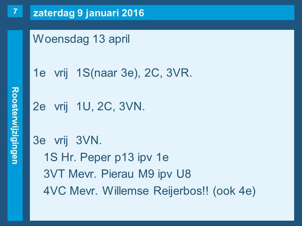 zaterdag 9 januari 2016 Roosterwijzigingen Woensdag 13 april 1evrij1S(naar 3e), 2C, 3VR.