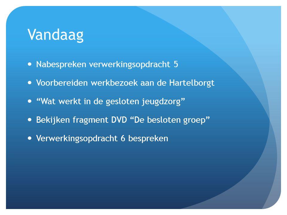 Verwerkingsopdracht 6 1.Lees Hoofdstuk 8, 10, 11 en 13 uit het boek van Peer van der Helm Wat werkt in de gesloten jeugdzorg .