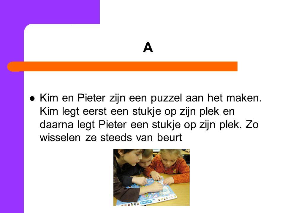 A Kim en Pieter zijn een puzzel aan het maken.