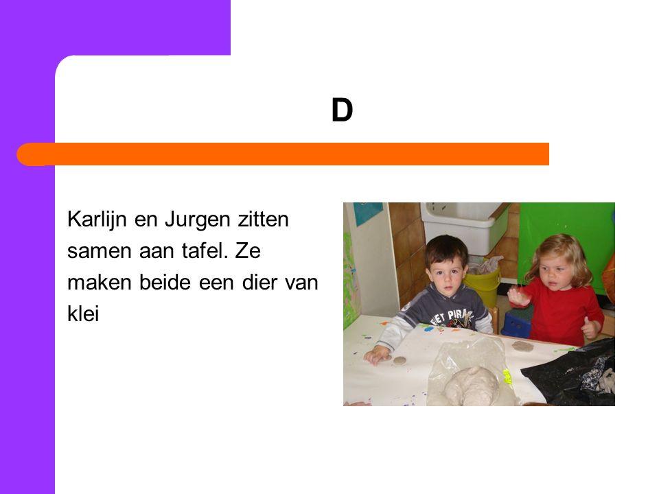 D Karlijn en Jurgen zitten samen aan tafel. Ze maken beide een dier van klei