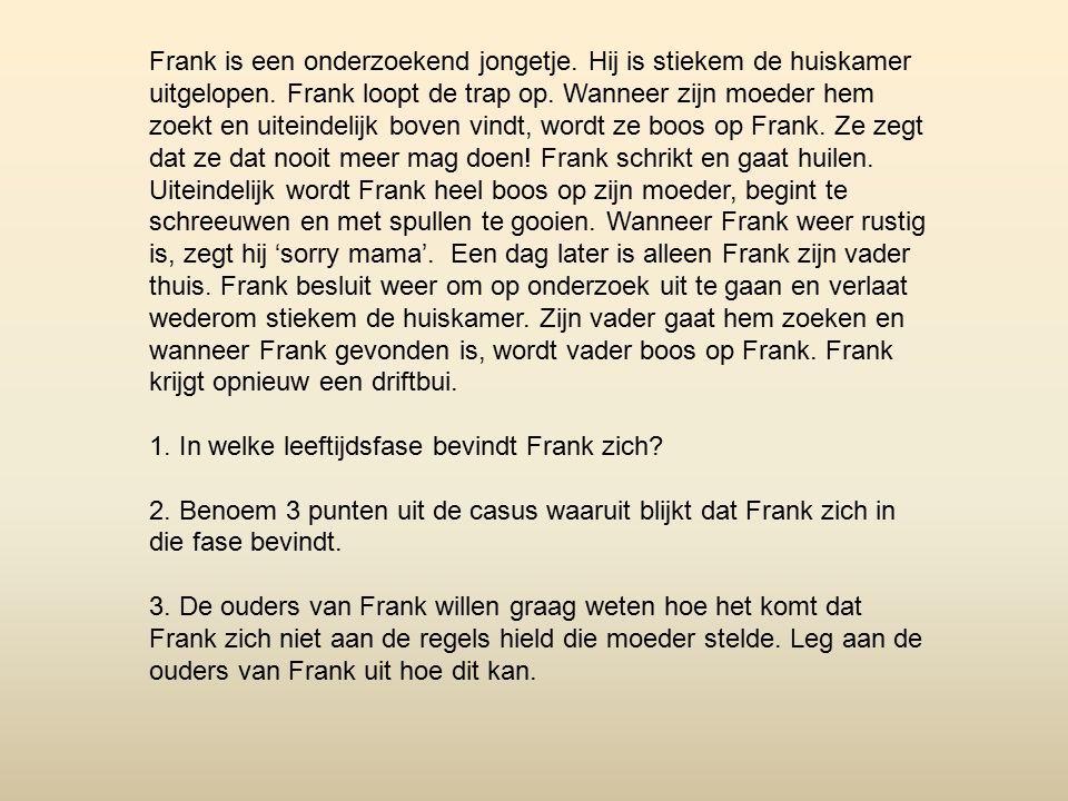 Frank is een onderzoekend jongetje.Hij is stiekem de huiskamer uitgelopen.