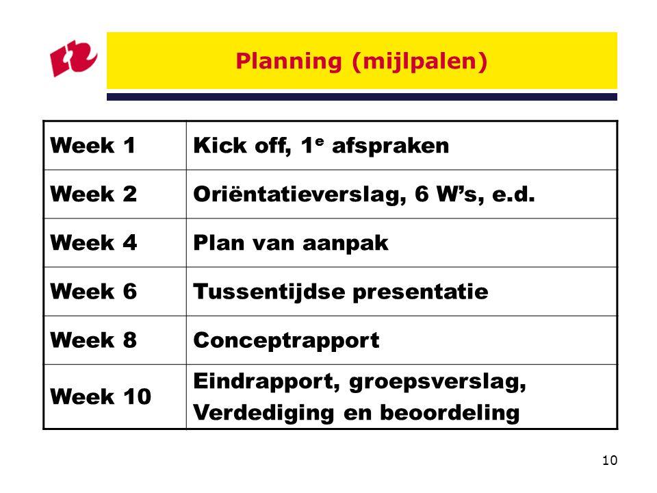 10 Planning (mijlpalen) Week 1Kick off, 1 e afspraken Week 2Oriëntatieverslag, 6 W's, e.d.