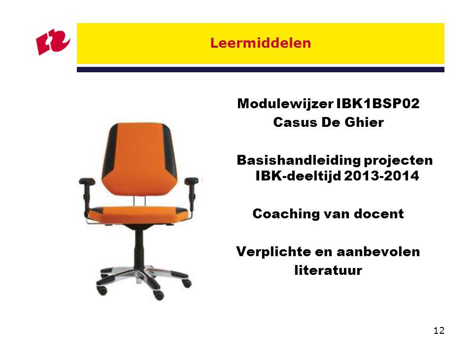 12 Leermiddelen Modulewijzer IBK1BSP02 Casus De Ghier Basishandleiding projecten IBK-deeltijd 2013-2014 Coaching van docent Verplichte en aanbevolen literatuur