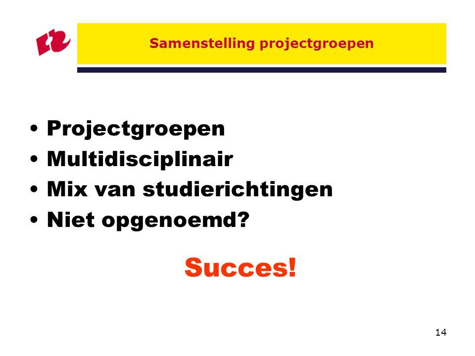 14 Samenstelling projectgroepen Projectgroepen Multidisciplinair Mix van studierichtingen Niet opgenoemd.