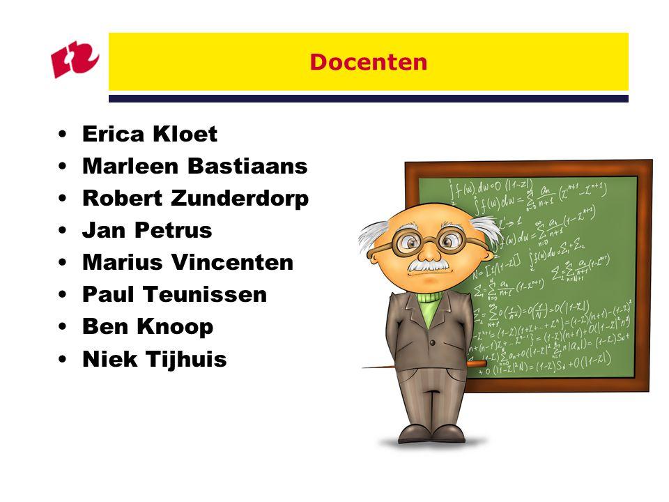 3 Docenten Erica Kloet Marleen Bastiaans Robert Zunderdorp Jan Petrus Marius Vincenten Paul Teunissen Ben Knoop Niek Tijhuis